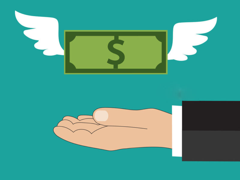 Dollar with wings flying at buisness man hand at green backgound in flat design. Idea for web design, promotion banners, infographic templates. Vector illustration