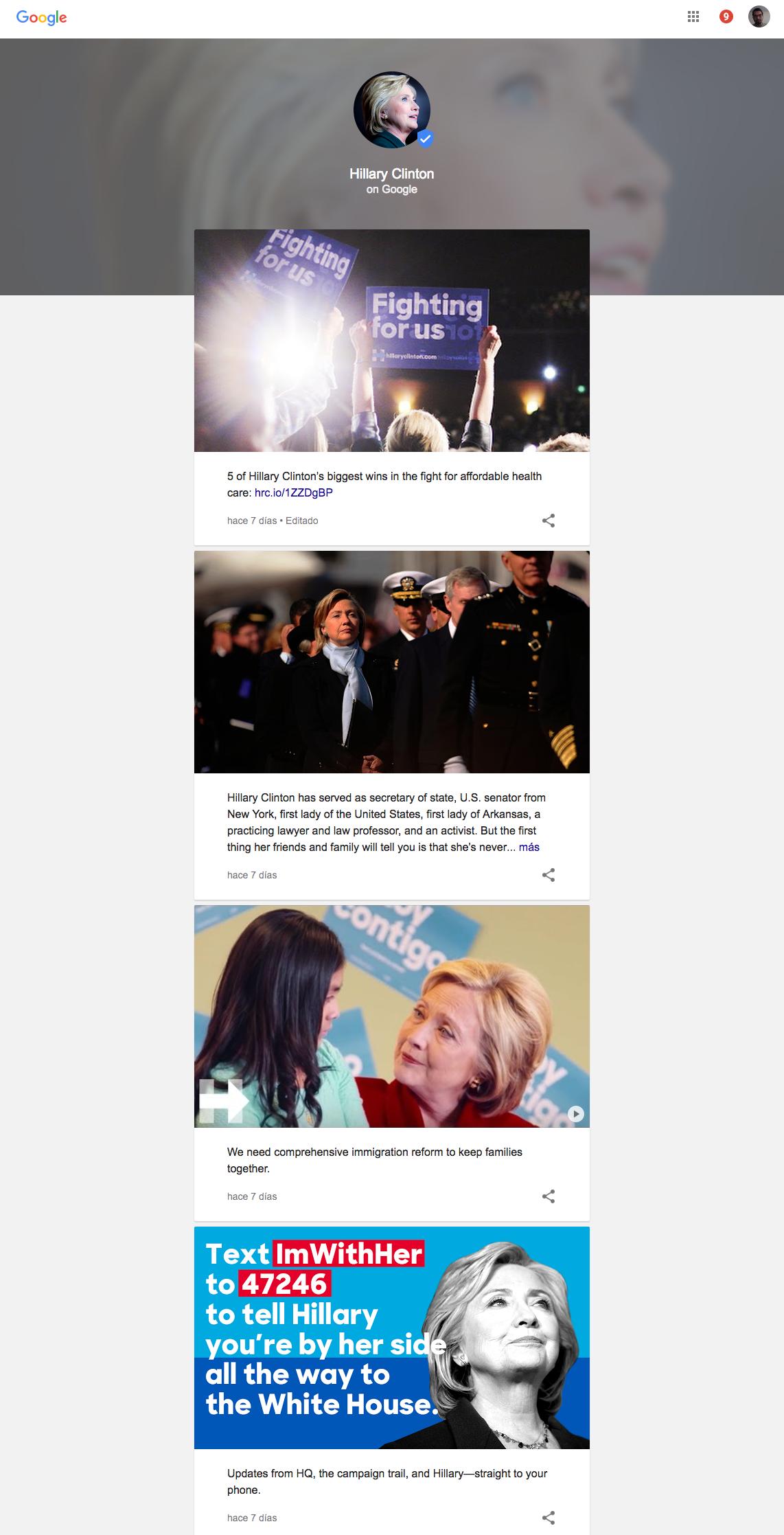 Google presenta la información sobre Hillary Clinton en una manera de fácil lectura para los internautas.
